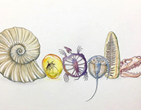 Google logo, fossil theme