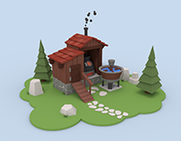 Low Poly Stone and Wood Construction