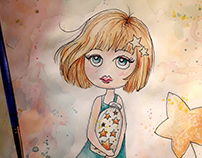 Keeper of the Stars Little Girl Watercolor Illustration