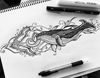 Dotwork whale tattoo design