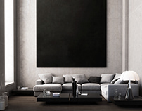 Sofa and black painting