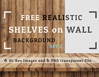 Freebie 6 JPG +6 PNG  Realistic Shelves on Wall  Set 02