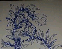 ball pen drawing plants