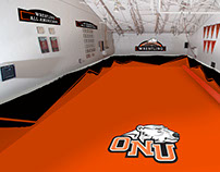 Wrestling room mat and wall signage