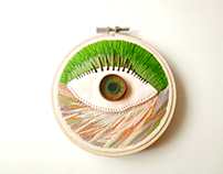 3D hand embroidered hoop with polymer clay eye