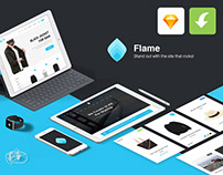 Flame Free UI Kit for Sketch App (freebie)