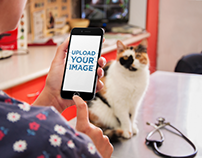 Product Mockup Template, iPhone 6 used at the Vet
