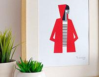 Red raincoat screen print