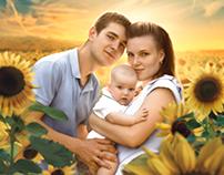 Among Sunflowers. Photomanipulation.
