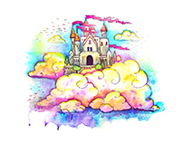 Castle in The Sky - Watercolor Illustration