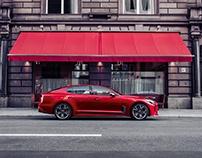 AH! the red car. KIA Stinger and Paul van Dyk