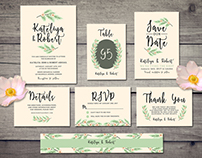 Nature wedding invitation suite