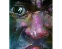 de la serie las caras, óleo sobre tela, 160cm/70cm