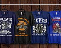 Motorcycle T-Shirts Bundle With Free Mockup