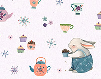 """Tea Party"" animal & floral inspired pattern"