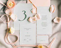 Wedding invitations in tiffany, lemon and marsala