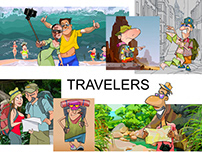 Funny cartoon characters travelers and tourists