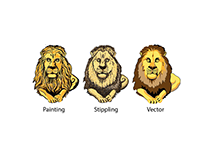 Lion illustration project, painted, stippling, vector