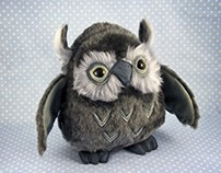 Owls, soft sculptures