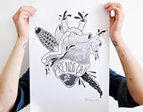 """Serigraphie affiche tattoo art """"prends ca"""""""