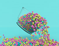 Dippin' Dots simulation with particles