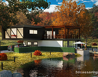 Lake house 3ds max + photoshop