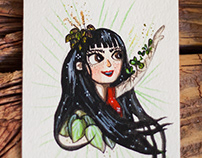 Plant girl on watercolor