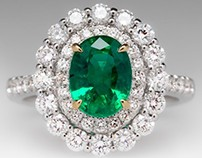 1.7 Carat Emerald Ring With 2 Tier Diamond Halo