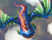 Dragon burning back