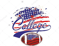 American flag college football graphic design vector ar