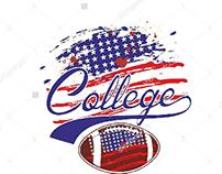 American flag college football graphic design vector ar