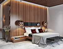 Luxury Bedroom Design with Red accents 3D Visualization