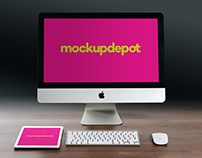 4K iMac and iPad PSD mockup by Mockup Depot