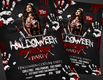 Halloween Massacre Party Flyer PSD Template