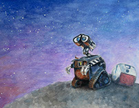 """Wall-e"" Watercolor and Colored Pencil mixed media"