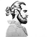 Christian Göran, biro illustration.