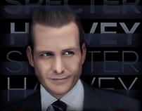 Harvey Specter - Suits | Pintura Digital & Tipografia