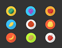 15 flat fruit icons