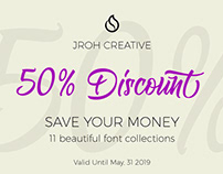 50% Discount 11 Beautiful Fonts Collections.