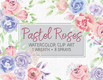 Pastel roses: watercolor mini bundle