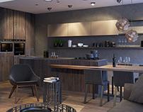 Livingroom-kitchen interior visualizations
