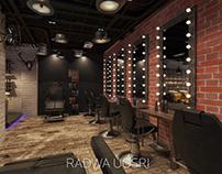 Barber shop industrial interior design