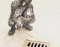 """""""Crouching Man, Hidden Buddha"""" - Steel Sculpture"""