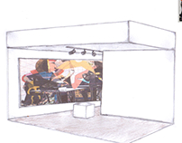 Francesca Dimattio drawn renderings of art gallery.