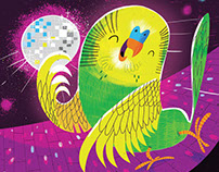 The Budgie Likes to Boogie Magazine Illustration