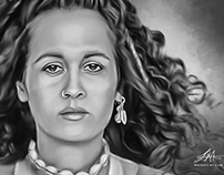 Teena Marie Digital Oil Painting by Wayne Flint