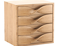 Twisted drawers unit