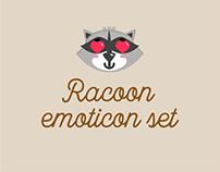 Racoon emoticon set