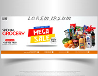 Facebook Cover Design Banner (GROCERY MEGA SALE)