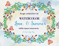 +650 Watercolor clip-art elements bundle